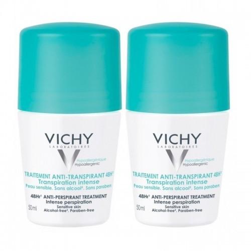 VICHY Roll-on Deodorant 48ωρη Αποσμητική Φροντίδα 2x50ml 1+1