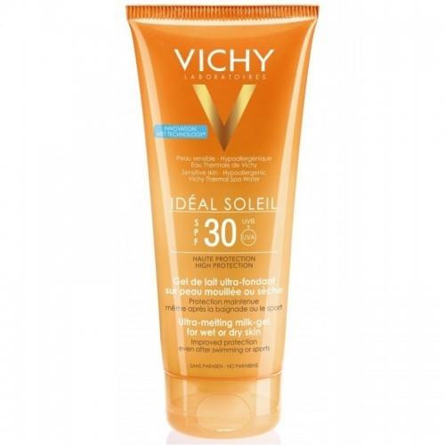 VICHY IDEAL SOLEIL Ultra-Melting Milk Gel SPF30 200ml Έχτρα Απαλό Γαλάκτωμα Gel για Νωπή ή Στεγνή Επιδερμίδα