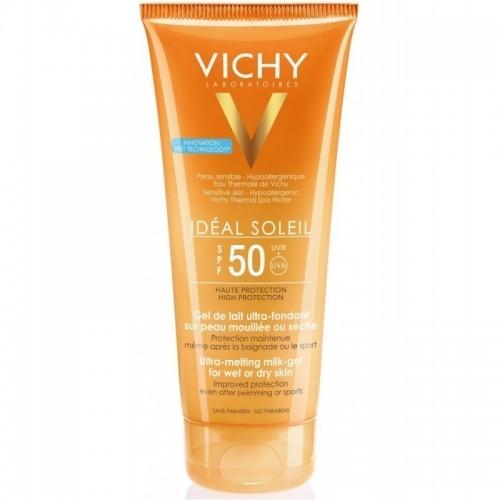 VICHY IDEAL SOLEIL Ultra-Melting Milk Gel SPF50 200ml Έχτρα Απαλό Γαλάκτωμα Gel για Νωπή ή Στεγνή Επιδερμίδα