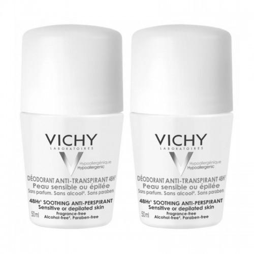VICHY Roll On Deodorant 48ωρη Αποσμητική Φροντίδα για ευαίσθητες επιδερμίδες 1+1 2x50ml